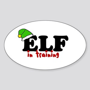 'Elf In Training' Sticker (Oval)
